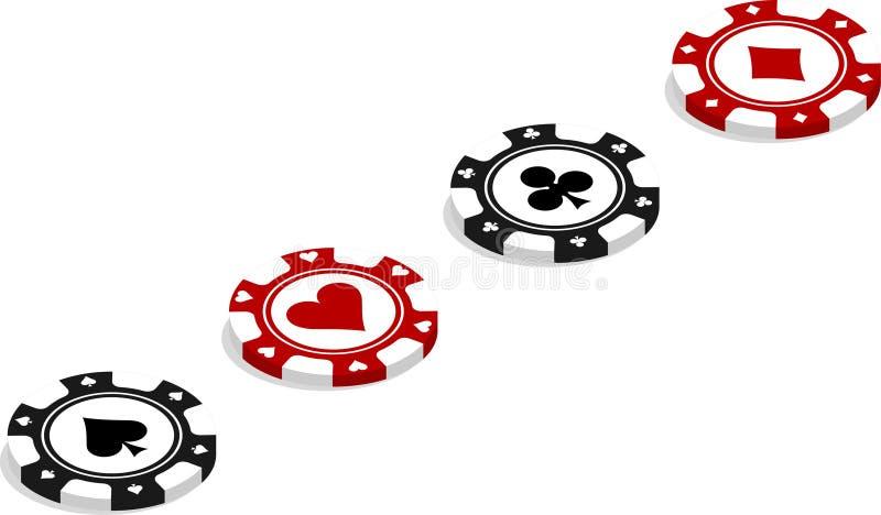 As microplaquetas de pôquer colocaram diagonalmente ilustração royalty free