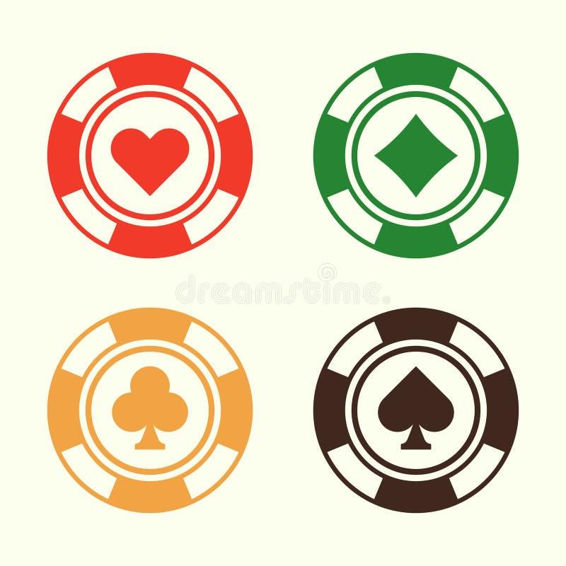 As microplaquetas de pôquer de jogo ajustadas do vetor projetam elementos ilustração royalty free