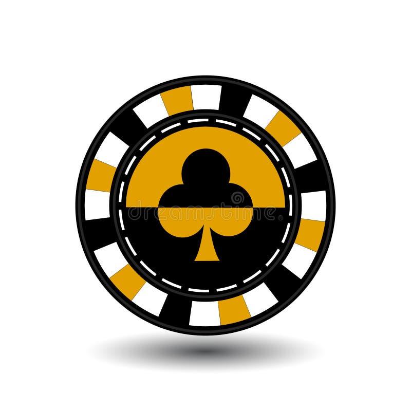 As microplaquetas para o pôquer yelloy um terno batem a linha pontilhada preto e branco amarela um ícone no fundo isolado Ilustra ilustração do vetor