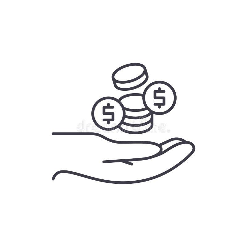 As moedas alinham o conceito do ícone Ilustração linear do vetor das moedas, símbolo, sinal ilustração do vetor