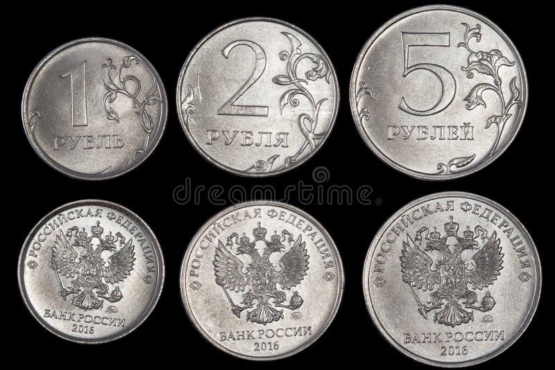 As moedas com o emblema de Rússia fotos de stock