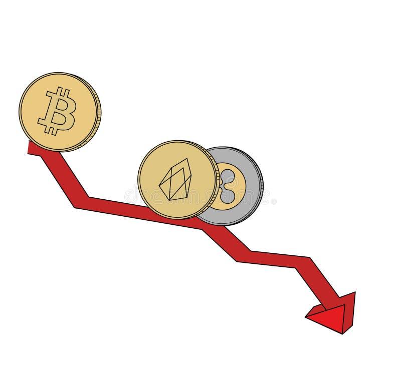 As moedas da moeda cripto estão rolando para baixo a programação cripto-instrumentos Ilustração do vetor ilustração do vetor