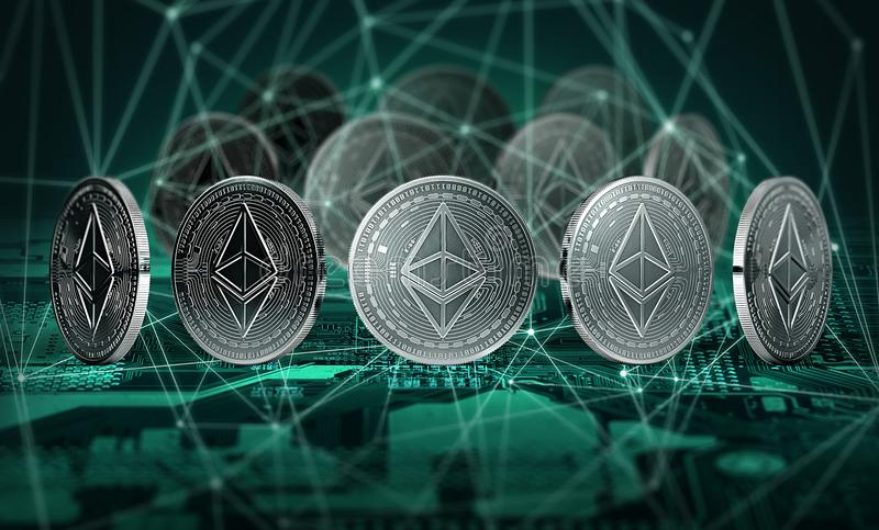 As moedas de Ethereum conectaram com os nós do blockchain que estão no cartão-matriz Conceito de Ethereum e de Blockchain ilustração stock