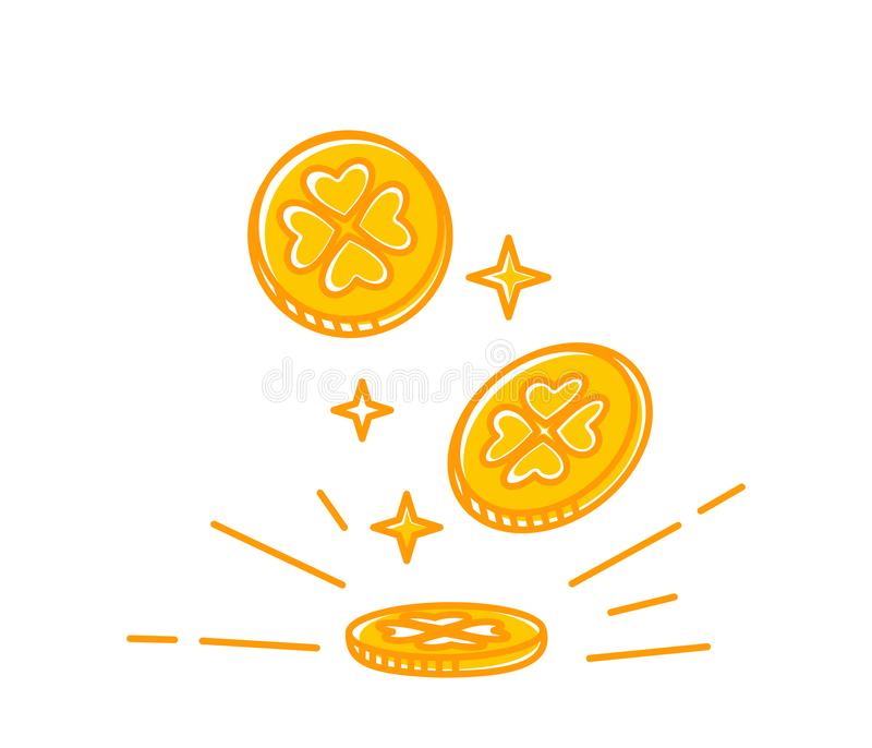 As moedas de ouro do trevo de quatro folhas caem à terra ilustração royalty free