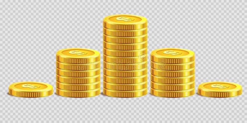 As moedas de ouro empilham montões dourados da moeda do banco do dinheiro no fundo transparente do vetor ilustração stock