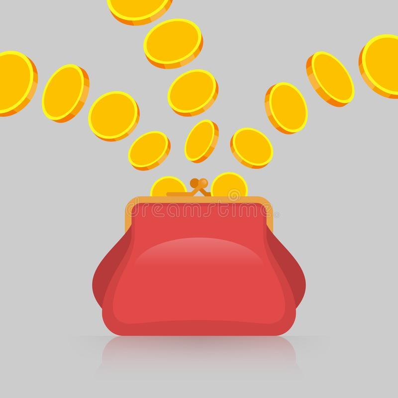 As moedas de ouro est?o caindo na bolsa ilustração stock