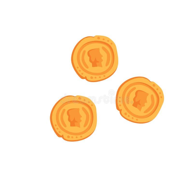 As moedas de ouro romanas antigas vector a ilustração em um fundo branco ilustração do vetor