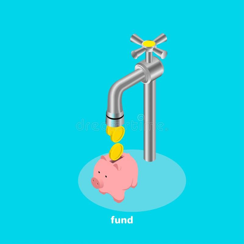 As moedas deixam cair fora da torneira de água e caem no mealheiro ilustração royalty free