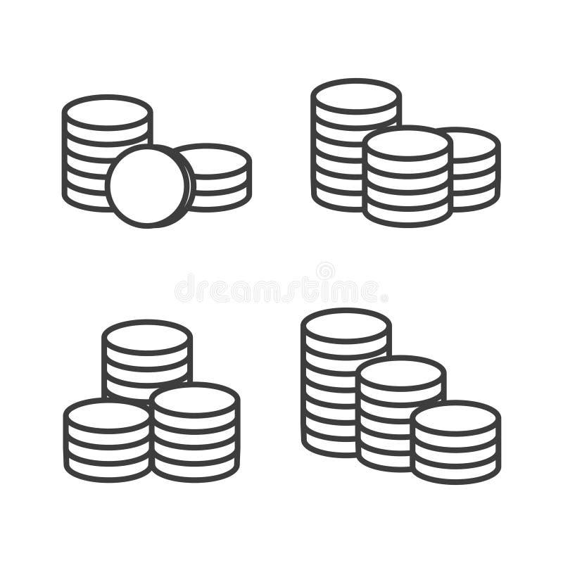 As moedas do vetor empilham o ícone do esboço ilustração stock