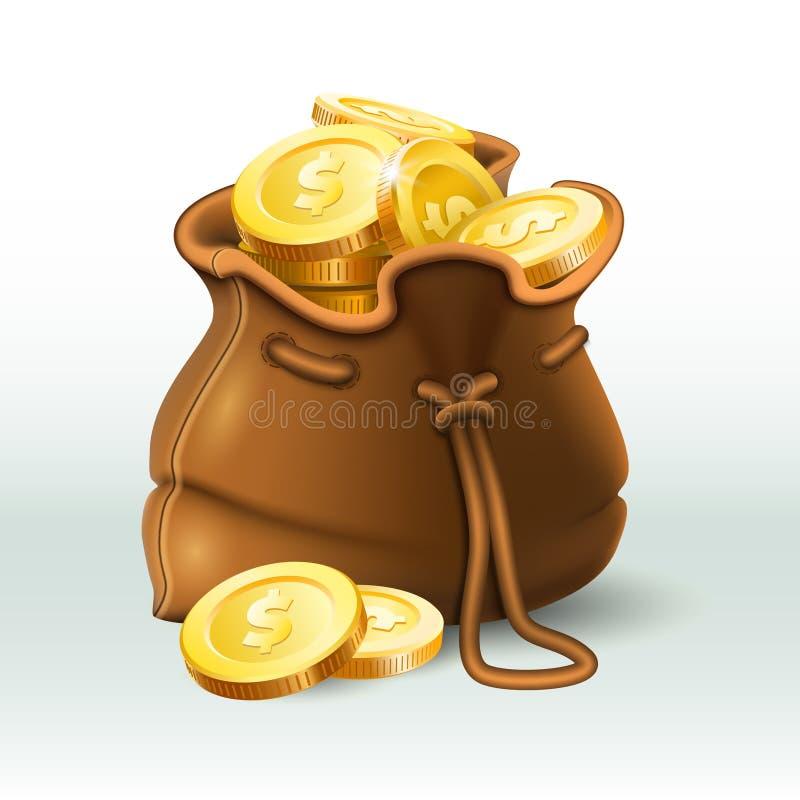 As moedas douradas ensacam Moeda de ouro no saco antigo velho, na bolsa de salvamento do dinheiro e na ilustração realística do v ilustração do vetor