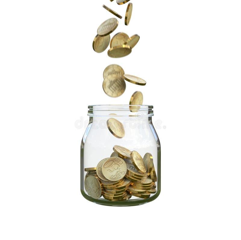 As moedas enchem um frasco de vidro imagem de stock