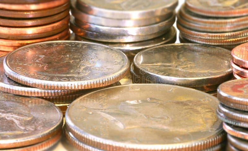 As moedas fecham-se acima foto de stock