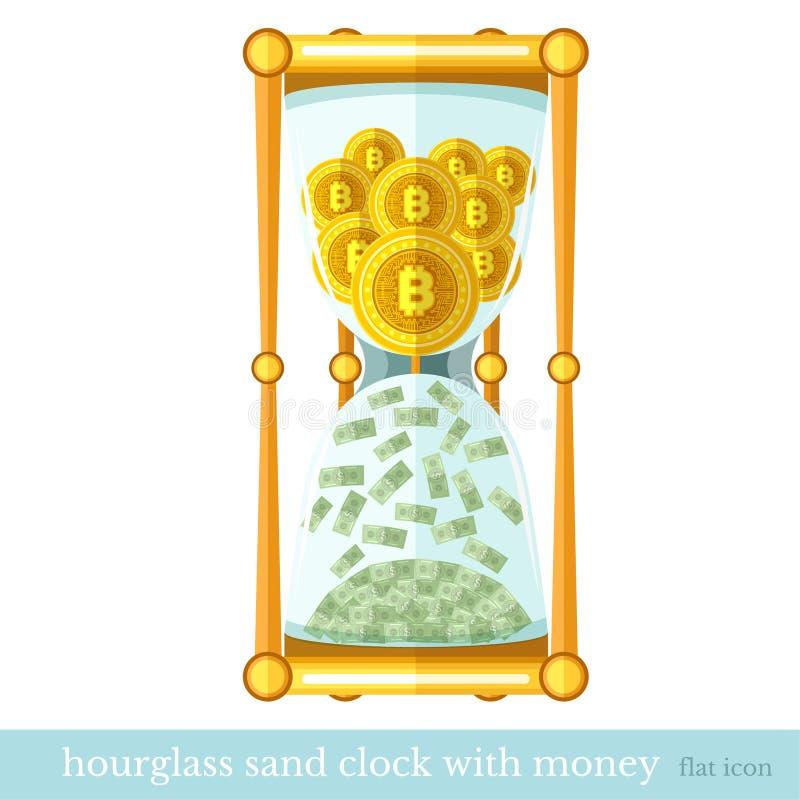 As moedas lisas do bocado do ícone do negócio caem da parte superior e voam para fora o dinheiro isolado no branco ilustração royalty free
