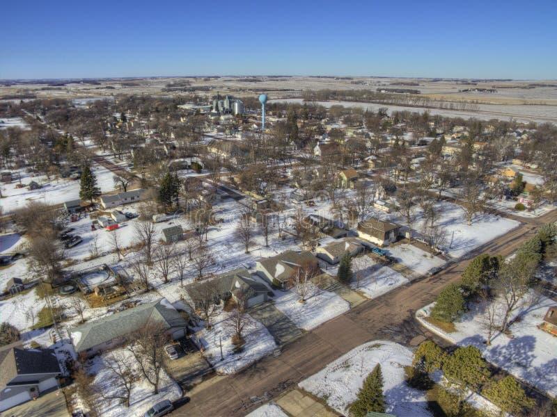 As molas do vale são uma comunidade de exploração agrícola pequena na beira de South Dakota/Minnesota fotografia de stock