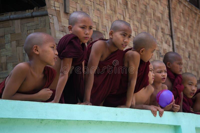 As monges pequenas do principiante olham para fora atrás da cerca de um monastério budista Yangon, Myanmar fotos de stock