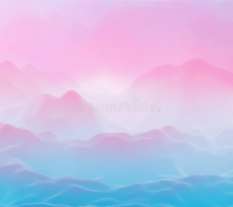 As montanhas 3D futuristas abstratas ajardinam no planeta estrangeiro ilustração stock