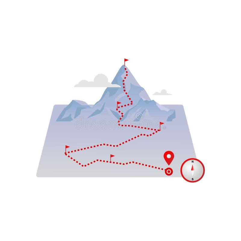 As montanhas da rota traçam com bandeiras vermelhas e pavimentaram linhas pontilhadas da estrada ilustração royalty free