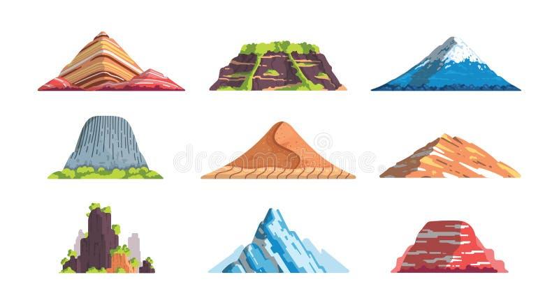 As montanhas diferentes ajardinam a ilustração isolada do vetor no estilo dos desenhos animados SE dos elementos da silhueta da m ilustração royalty free