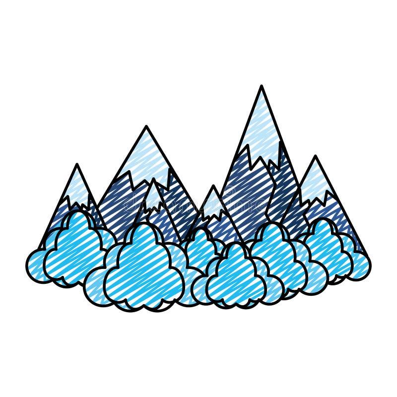 As montanhas do gelo da garatuja com nuvens macias ajardinam ilustração do vetor