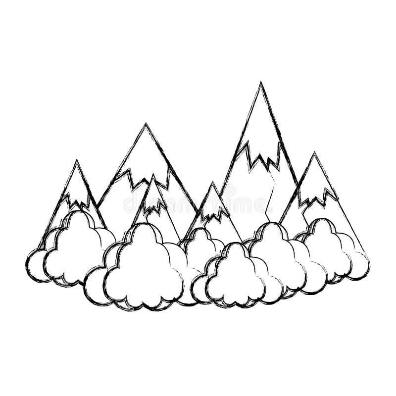 As montanhas do gelo do Grunge com nuvens macias ajardinam ilustração do vetor