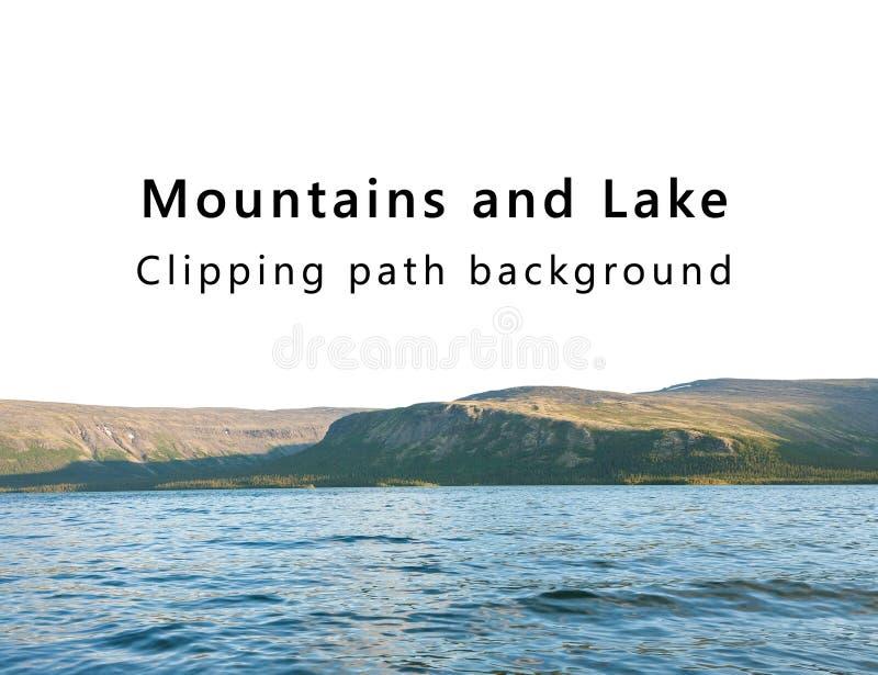 As montanhas e o lago isolaram o fundo com trajeto de grampeamento imagem de stock