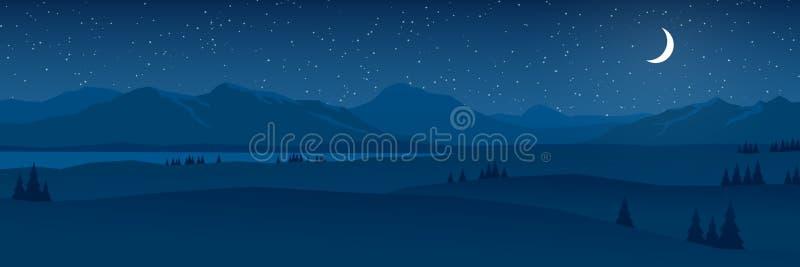 As montanhas e os montes ajardinam no panorama liso do projeto da noite ilustração do vetor