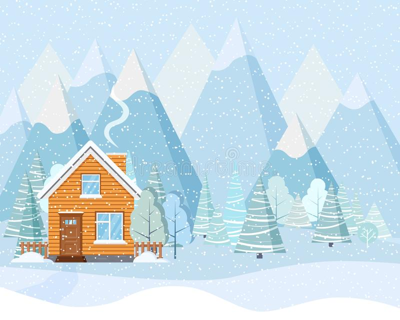 As montanhas nevados do inverno ajardinam com a casa de campo rural de madeira, fumo vêm da chaminé, leve - árvores azuis, abetos ilustração royalty free