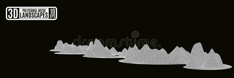 As montanhas poligonais cinzentas serpenteiam em um fundo preto ilustração do vetor