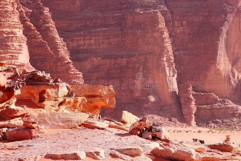 As montanhas vermelhas da garganta de Wadi Rum abandonam em Jordânia fotos de stock