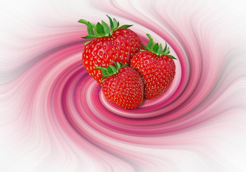 As morangos e a leiteria de creme do fruto rodam morango de roda do suco do teste padrão imagem de stock royalty free