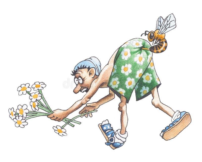 As mordidas da abelha no burro ilustração do vetor