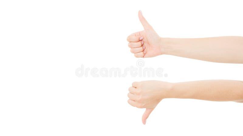 As mostras adultas das mãos gostam e não gostam, isolado no espaço branco da cópia, trocista acima Imagem horizontal fotos de stock