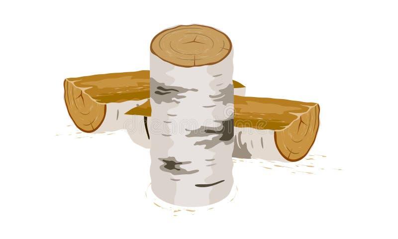 As mostras da imagem do vetor stabbed logs do vidoeiro perto do coto ilustração do vetor