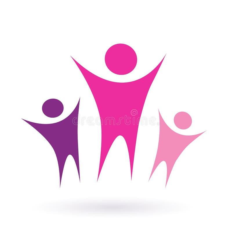 As mulheres agrupam/ícone da comunidade - cor-de-rosa ilustração do vetor