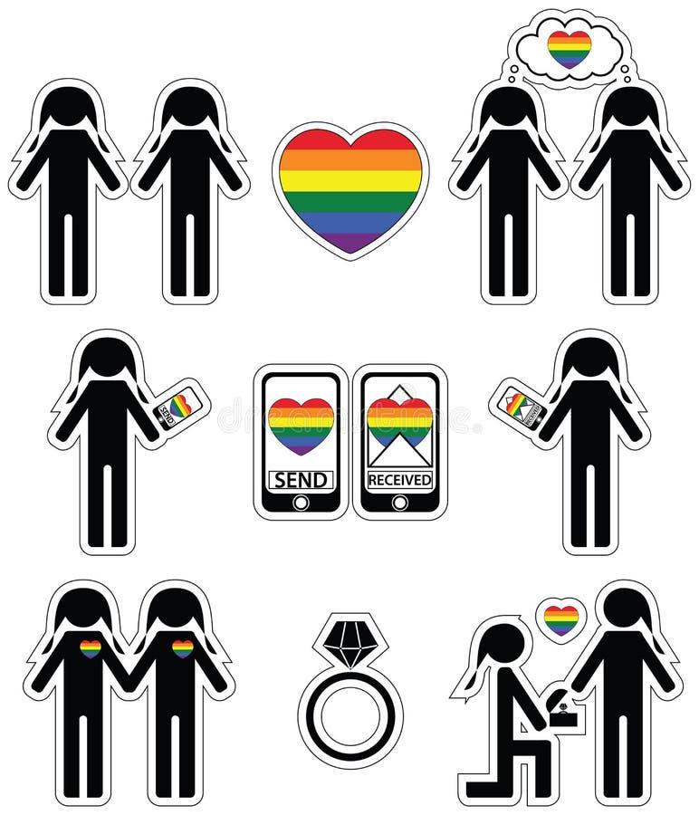 As mulheres alegres que caem em ícones do amor e do acoplamento ajustaram-se com elemento do arco-íris ilustração do vetor