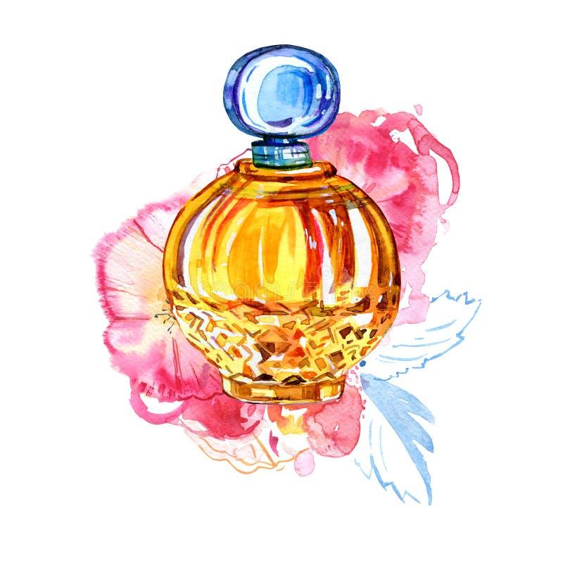 As mulheres amarelas perfumam a garrafa com as rosas no fundo Ilustração estilizado tirada mão da aquarela ilustração do vetor