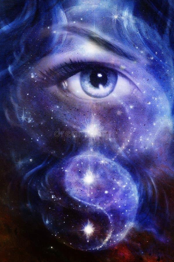 As mulheres azuis eye, com espaço e estrelas, com yin yang do simbol, colagem abstrata da pintura ilustração stock