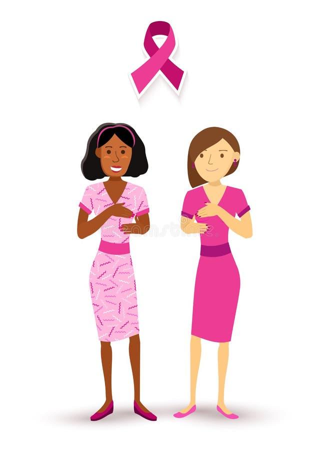 As mulheres da conscientização do câncer da mama verificam acima da fita cor-de-rosa ilustração do vetor
