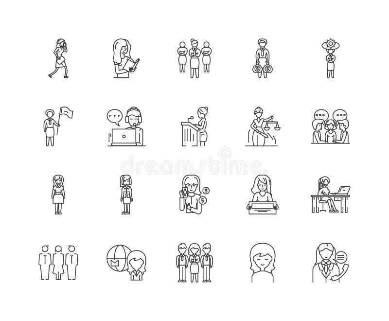 As mulheres de negócio alinham ícones, sinais, grupo do vetor, conceito da ilustração do esboço ilustração stock