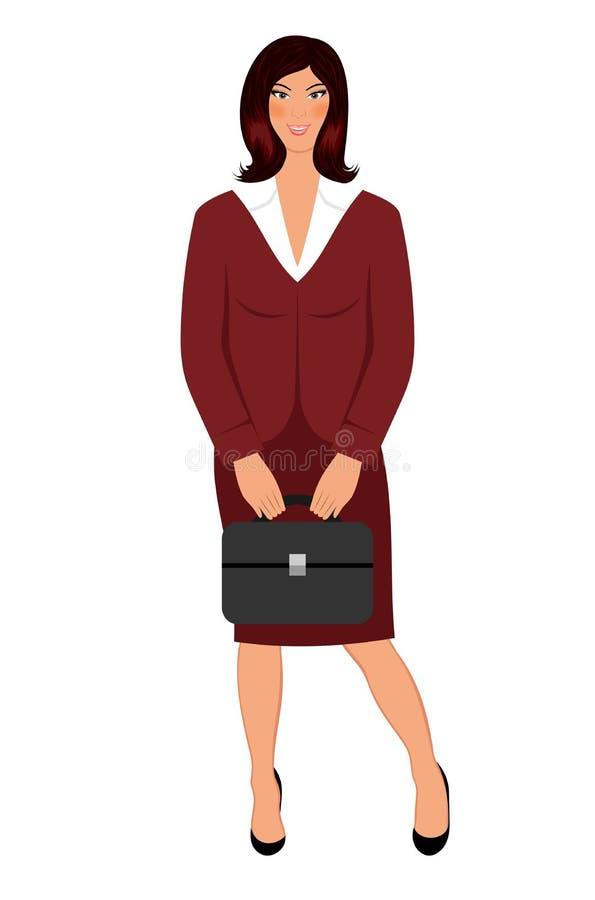 As mulheres de negócio com caso isolaram-se ilustração stock