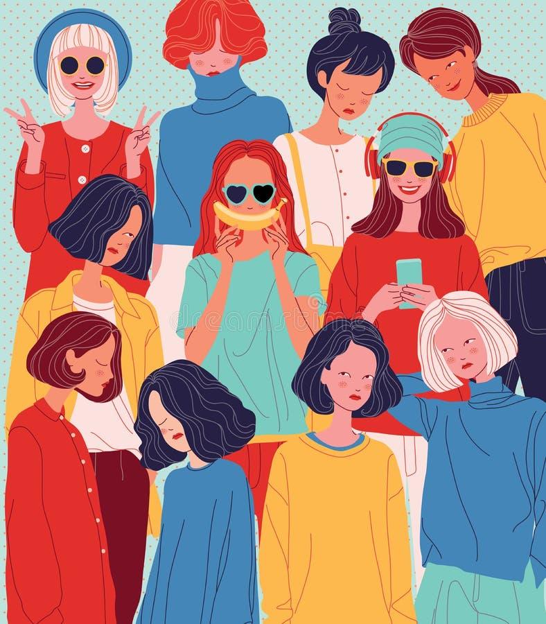 As mulheres diversas enfrentam o fundo, estilo diferente da mulher ilustração stock