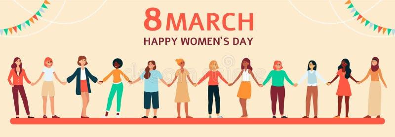 As mulheres diversas estão e guardam as mãos, bandeira lisa fêmea horizontal com texto o 8 de março ilustração royalty free