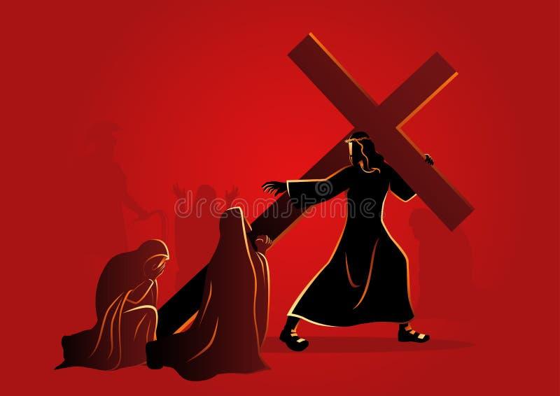 As mulheres do Jerusalém lamentam para Jesus ilustração do vetor
