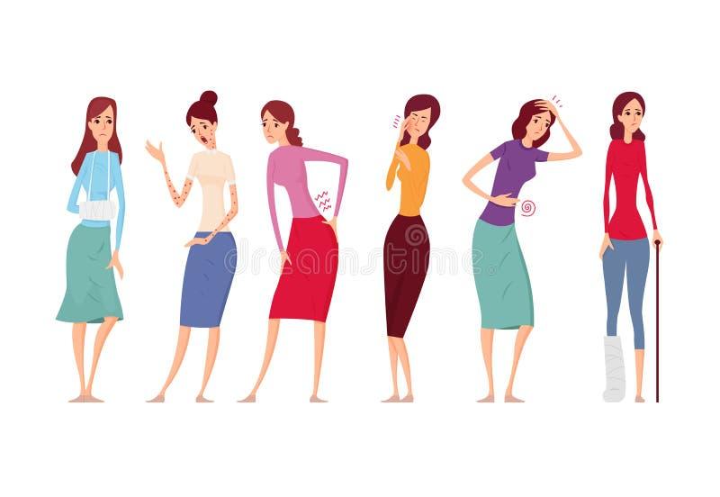 As mulheres doentes com dor e doenças vector a ilustração ilustração royalty free