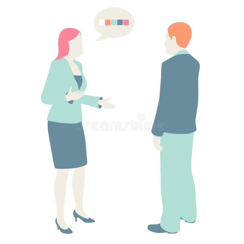 As mulheres e os homens comunicam-se ilustração royalty free