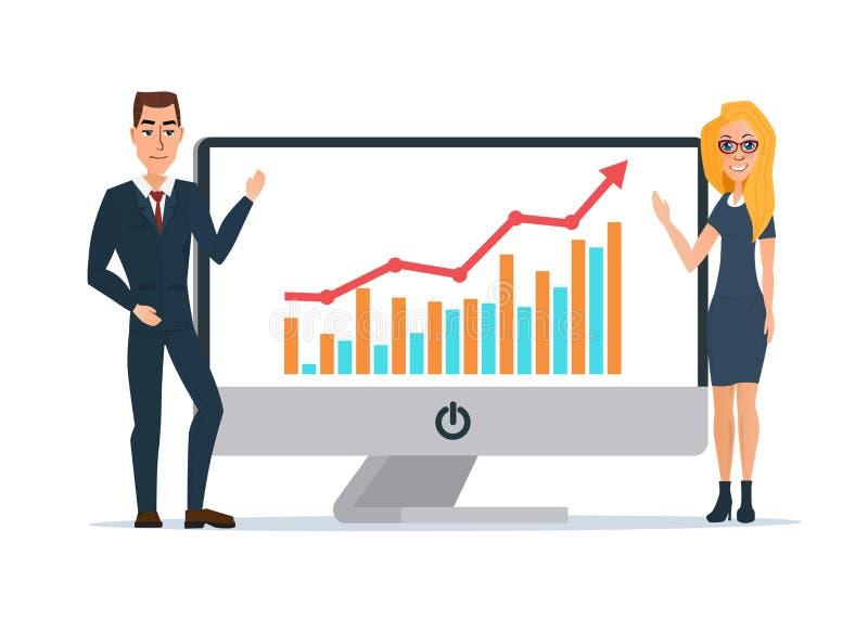 As mulheres e os homens de negócio apresentam gráficos no no portátil do computador ilustração stock