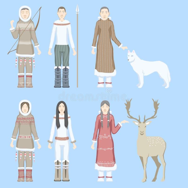As mulheres e os homens dos esquimós dos caráteres vestiram-se em trajes nacionais com o lobo branco da rena étnica dos animais d ilustração royalty free