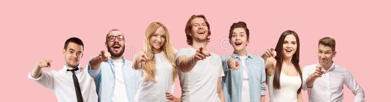 As mulheres e os homens felizes de negócio apontam-no e querem-no, meio retrato do close up do comprimento no fundo cor-de-rosa foto de stock royalty free