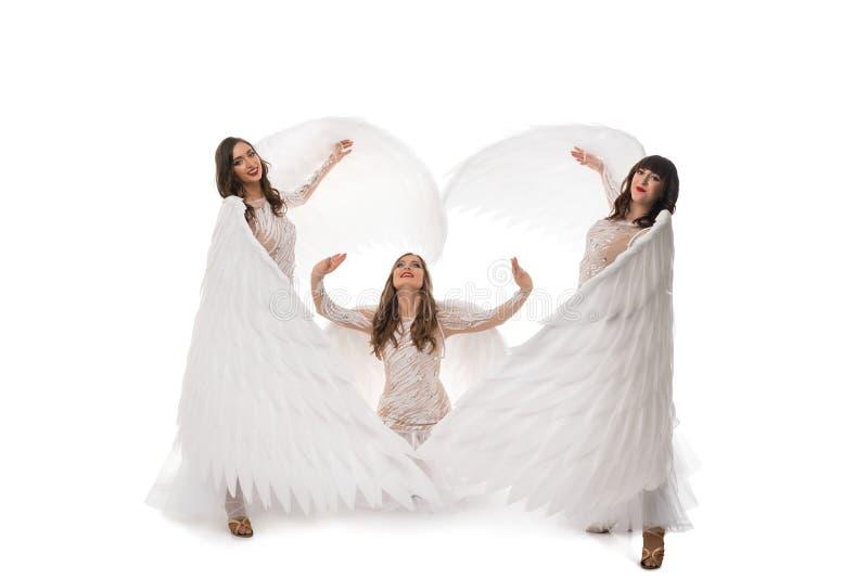 As mulheres em vestidos e nas asas bonitos dispararam imagem de stock