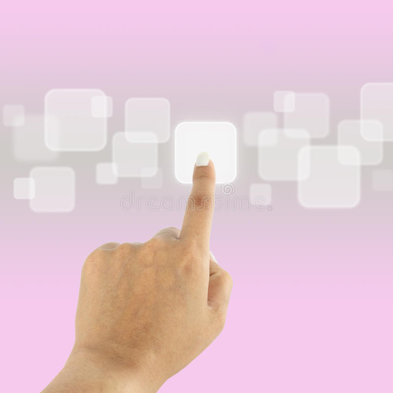 As mulheres entregam a empurrão do botão na relação do ecrã táctil ilustração stock